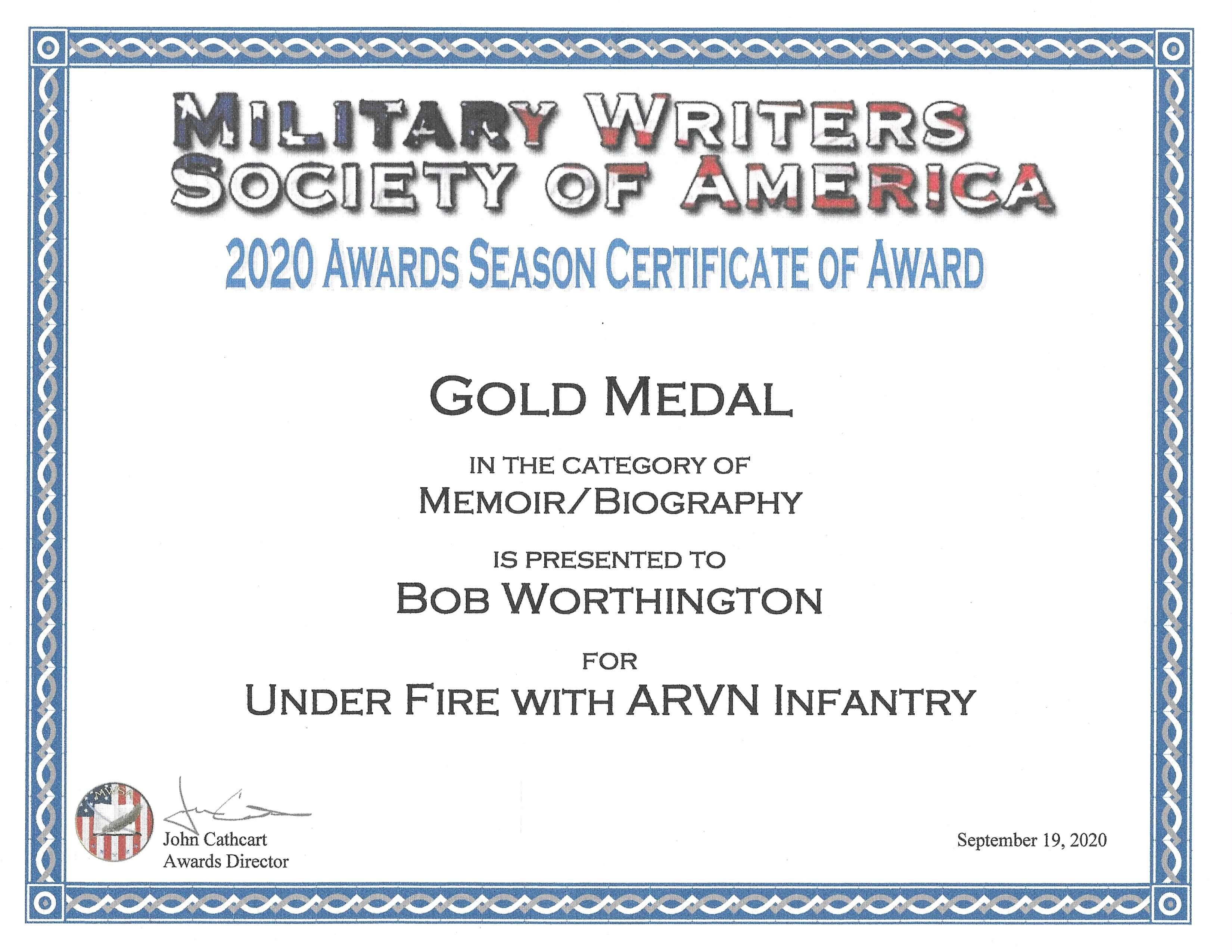 MSWA award certificate 2020